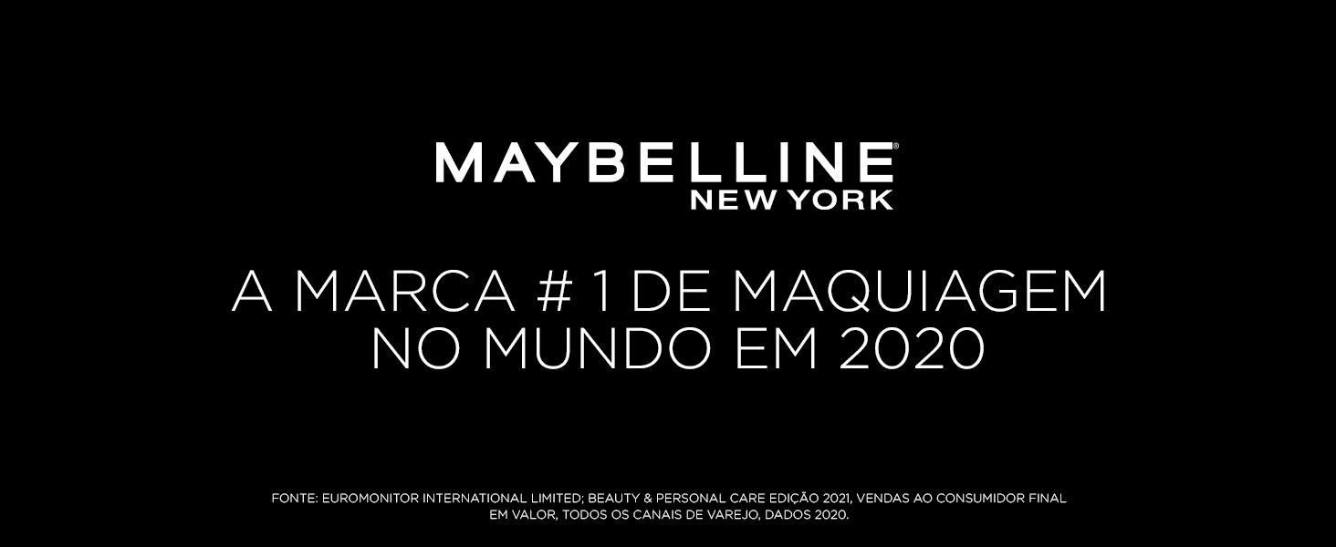 """Fundo preto com texto dizendo """"maybelline marca numero 1 no mundo"""""""