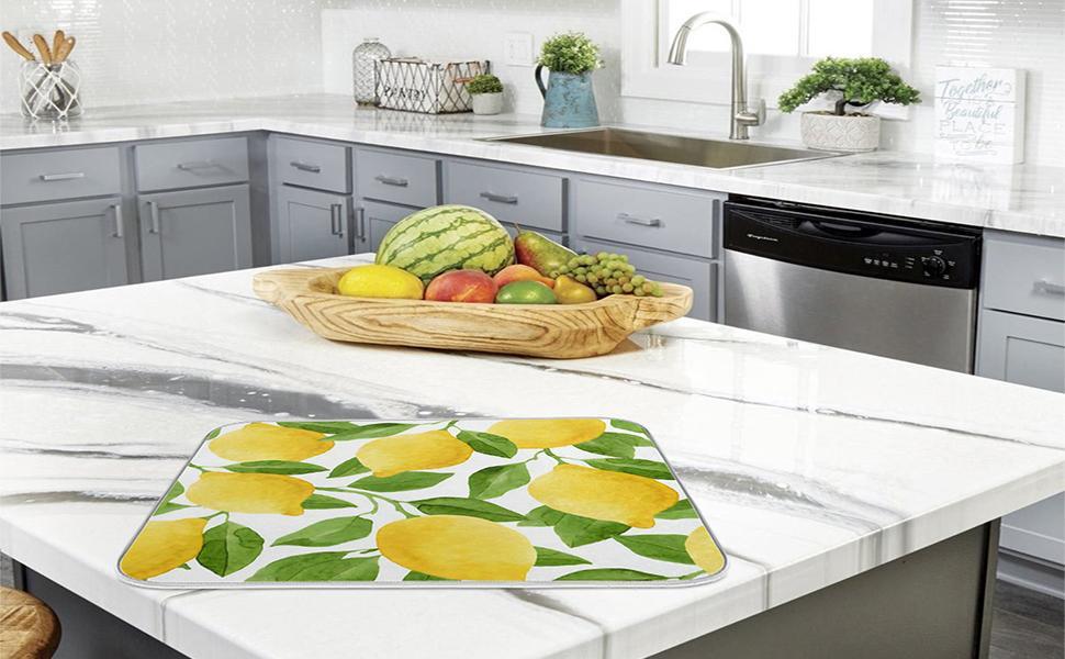 lemon dish drying mat