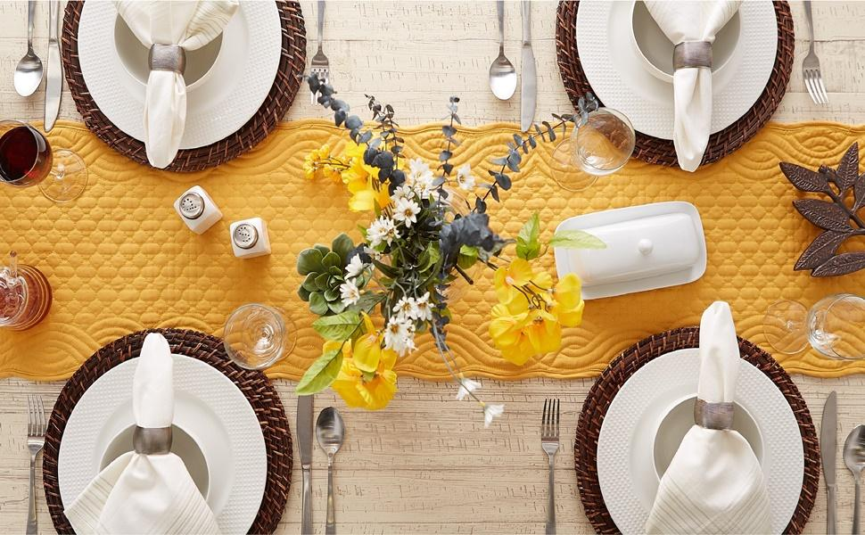 DII Quilted Farmhouse Collection - Honey Gold Table Runner used to style the dining table.