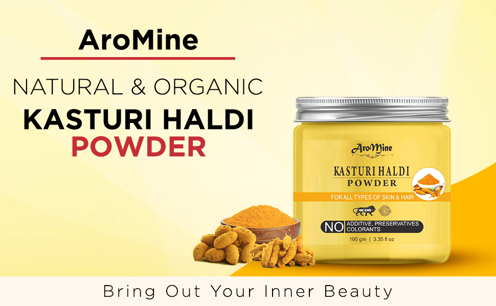 AroMine Natural and Organic Kasturi Haldi Powder for Brightening and Glowing Skin SPN-FOR1