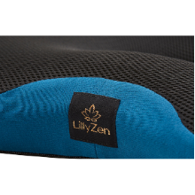 Close up black mesh upper, smart blue knit front amp; side panel