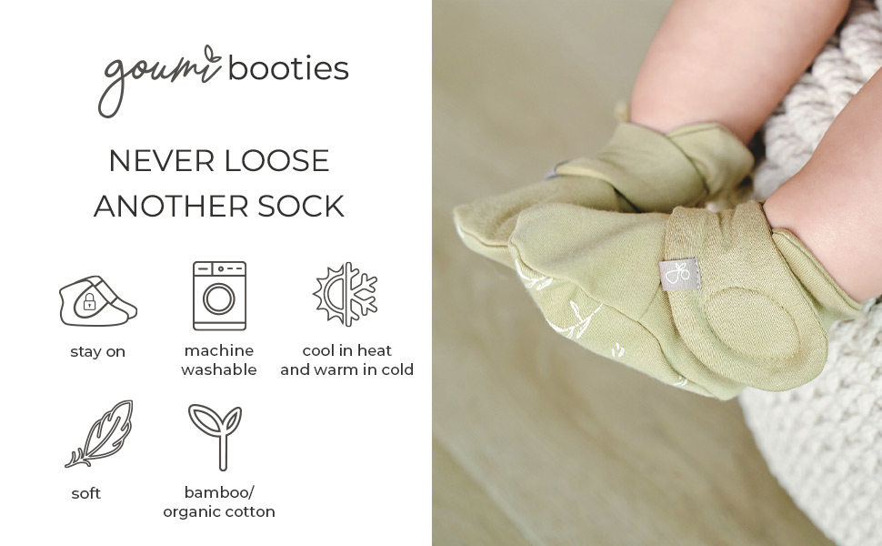 Soft bamboo / organic cotton baby booties with velcro closure to stay on.