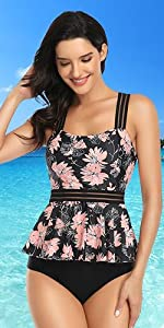 womens floral swimsuits with bikini bottoms