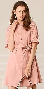 B083DCKLD7 Belted Shirt Dress