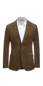 mens casual corduroy suit blazer jacket notch lapel two button slim fit sport coat blazers for men