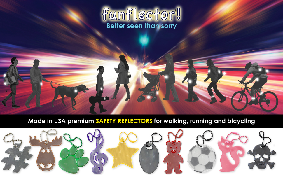 Safety reflectors for walking running and bicycling