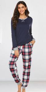 Womens Plaid Pajamas Set