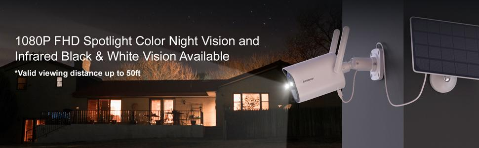 1080p FHD solar camera has smart spotlight,color night vision and infrared black white vision