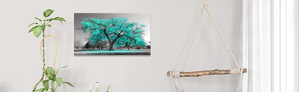 black white turquoise tree canvas wall art home office