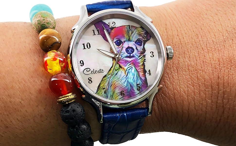 Chihuahua watch dial art rainbow wrist
