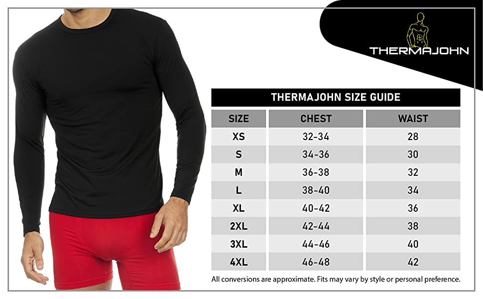 Thermajohn thermal top size chart