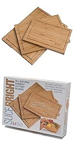 SliceBright Bamboo Cutting Boards 3 Set