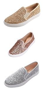 women loafer sneaker flat slip on sparkle sparkly bling shiny glitter silver gold rose gold wedding