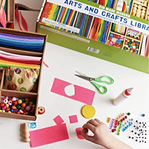 kid made modern arts and crafts supply library kids schools fuzzy sticks glitter beads glue sequins