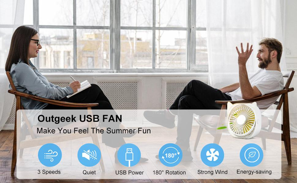 Outgeek Usb Fan can adjust the angle by 180°, using USB power supply is very energy-saving