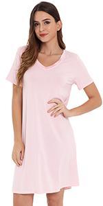 womens short sleeve nightgown bamboo viscose night shirt v neck sleepwear soft loungewear dress pjs