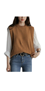 Women Round Neck Pullover Knitted Sweater Vest