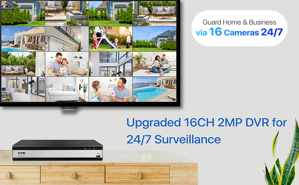 upgraded 16 channel security DVR for 24/7 surveillance