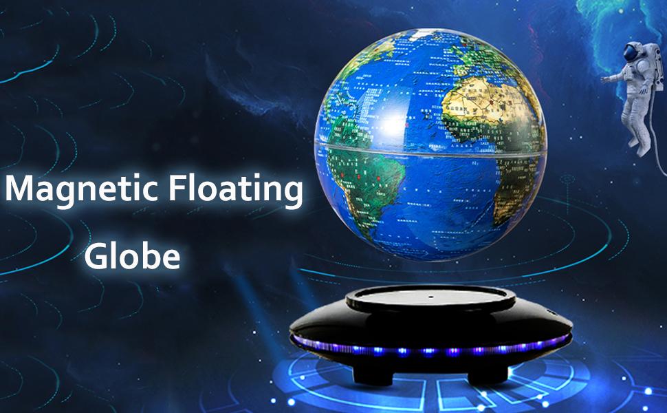 Floating Globe with Colored LED Lights  Shape Anti Gravity Magnetic Levitation Rotating World Map