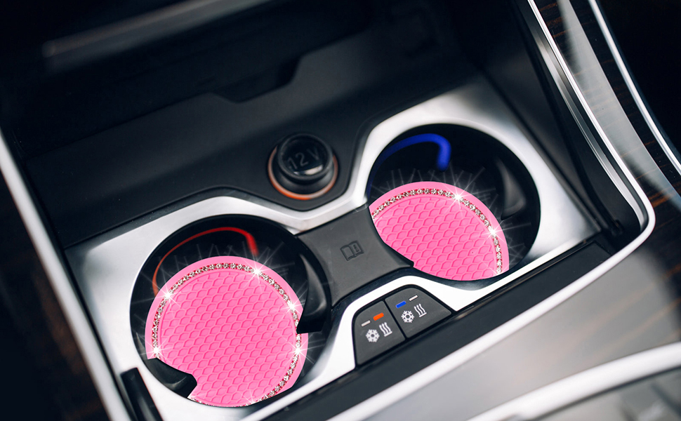 4 Pack Pink Bling Car Coasters