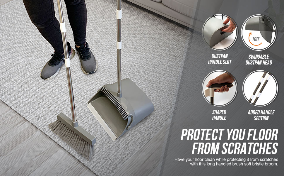 Long handled dustpan and brush features