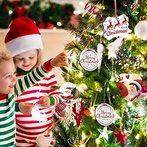 Sublimation Blank Pendants MDF Halloween Christmas Ornaments Discs Supplies for DIY Decor