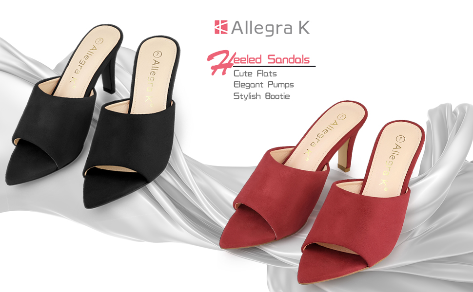Allegra K Women's Pointed Toe Stiletto Heels Slide Mules Sandals