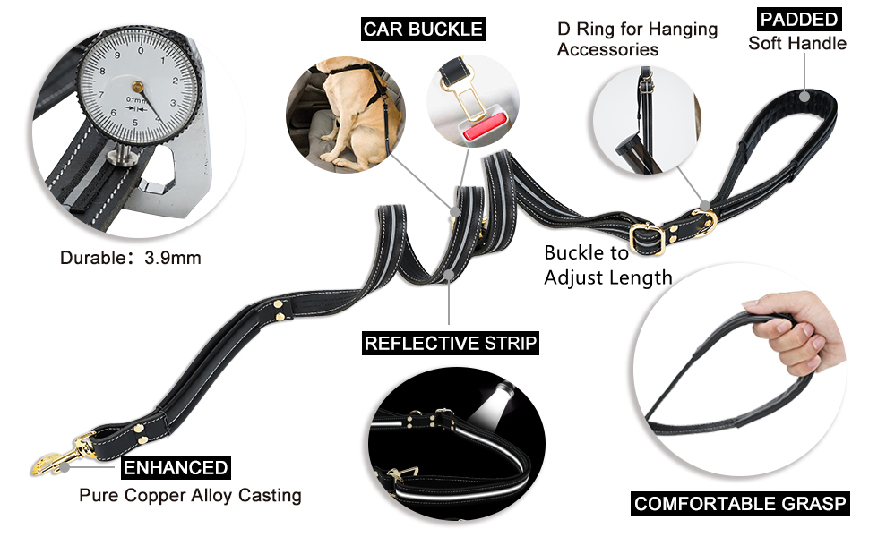 6Ft Long Dog Training Walking Leashes for Large Medium Dogs, Traffic Handle for Extra Control