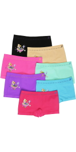 girls pack of six shorts with characters seamless boyshorts