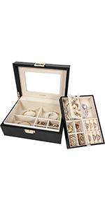 Two-Tray jewelry box-Classic Black