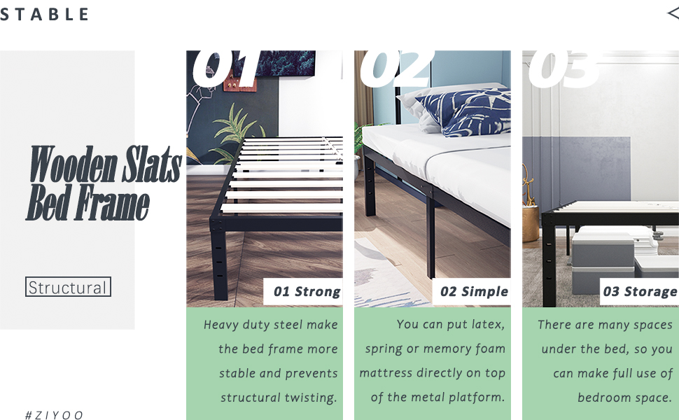 wooden slats bed frame