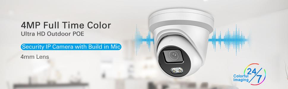 4MP Full-Color Night Vision POE IP Camera Turret with 4mm Lens, Built-in Audio,