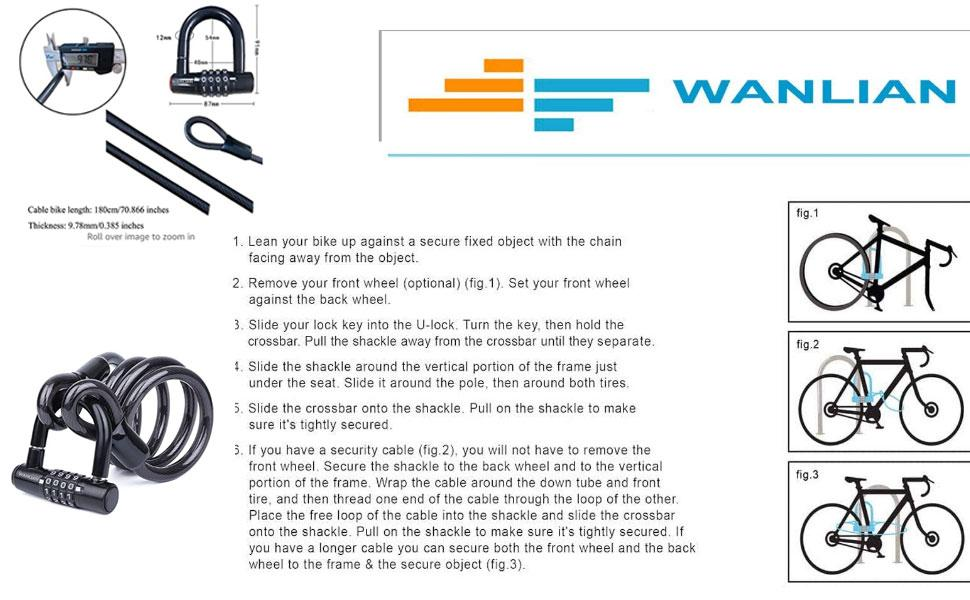 Bicycle Lock Cable,Bicycle Chain Lock,Safety Chain Lock kit,