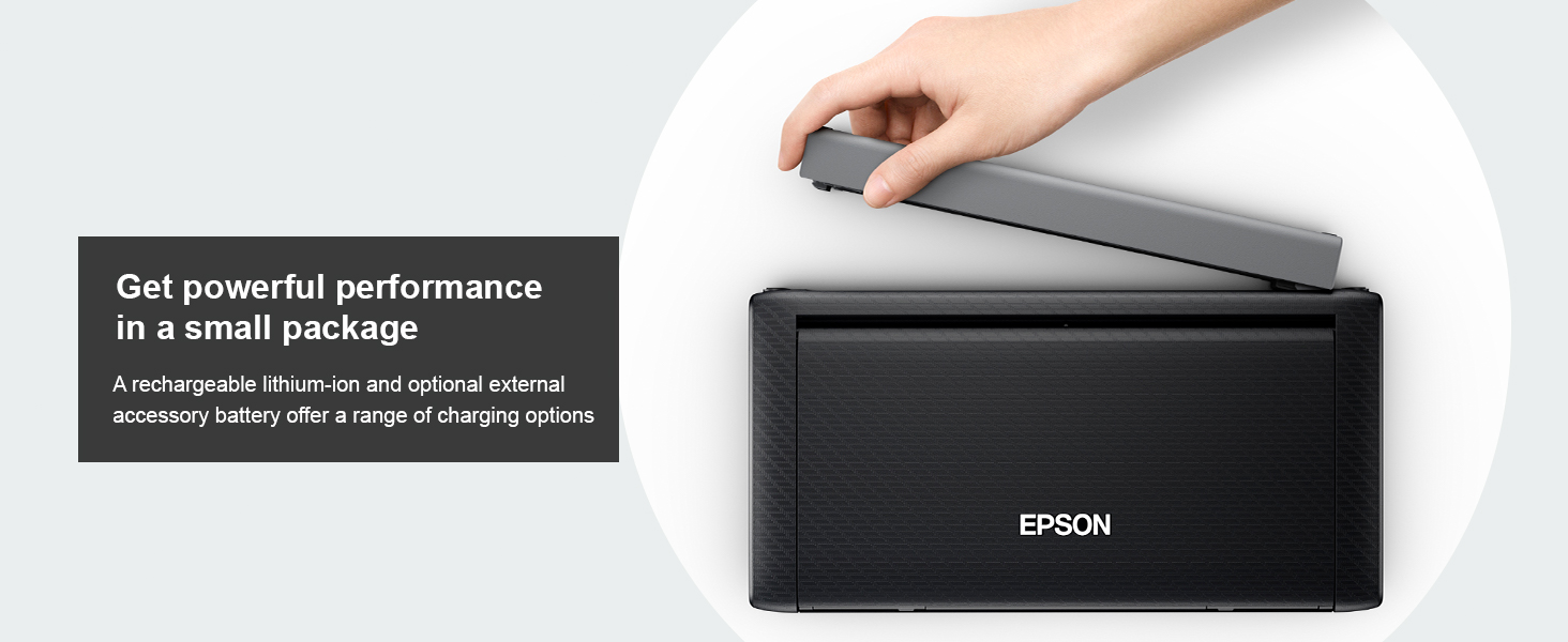 A rechargeable lithium-ion and optional external accessory battery offer a range of charging options