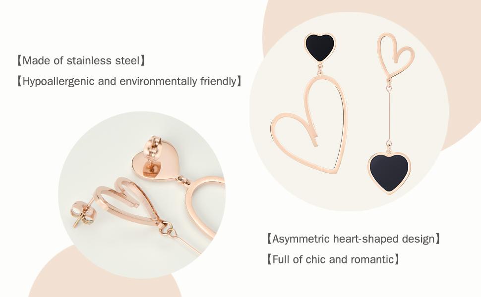 Jertom 14k gold plated mismatched heart dangle earrings