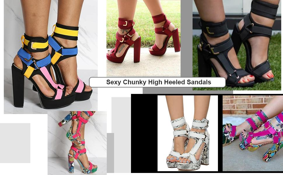 chunky high heeled sandals for women platform sexy sandals