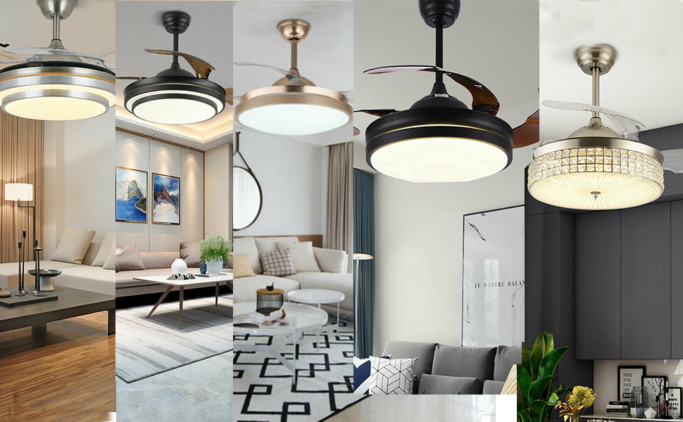 Various styles Retractable Ceiling Fan Lamp