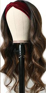 FB30 highlight body wave headband wig human hair