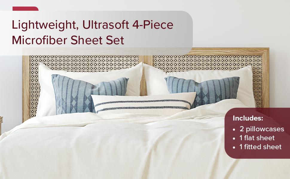 Lightweight, Ultrasoft 4-Piece Microfiber Bed Sheet Set