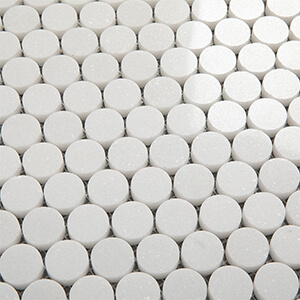 Soulscrafts Thassos White Greek Marble Penny Round Mosaic Tile