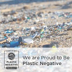 Certified Plastic Negative. Ocean bound plastic on beach.