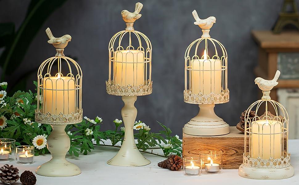 beige decorative bird cage candle holders set