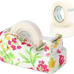 VIBRANZ-LAB Cute Tape Dispenser Desk Home Office Desk Supplies Fun Desk Accessories Floral
