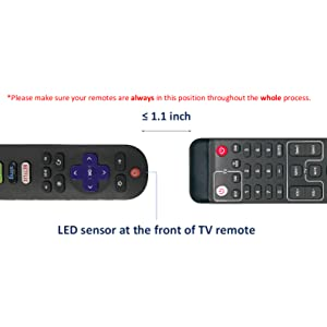 Please make sure your remotes are always in the position shown throughout the whole process