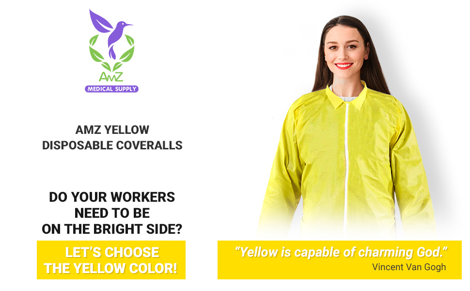 AMZ Yellow Disposable Coveralls Lab Jumpsuit Full Body Suit Protective Coveralls Outbreak Suit AMZ