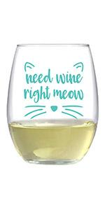 Text says Need wine right meow, with cat ears and whiskers printed in teal around text.