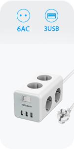 TESSAN USB Stekkerdoos