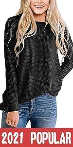Waffle Knit Pullove Sweater