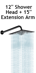 12 Inch High Pressure Showerhead with 15 Inch Arm