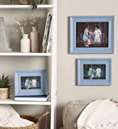 Collection of antique distressed blue picture frames